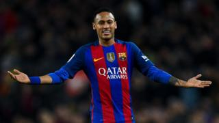 Neymar Jr. of FC Barcelona reacts during the La Liga match between FC Barcelona and Real Madrid CF at Camp Nou stadium on December 3, 2016 in Barcelona, Spain.