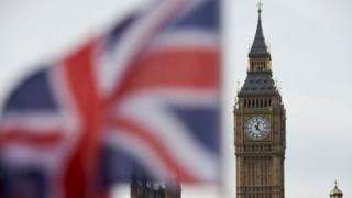 Britanya bayrağı ve Big Ben saat kulesi