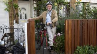 Jeremy Corbyn leaving his home on Tuesday morning