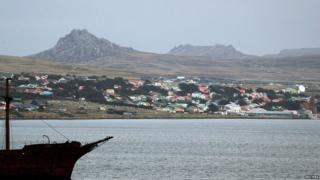 A view of Port Stanley, the largest settlement on the Falklands Islands