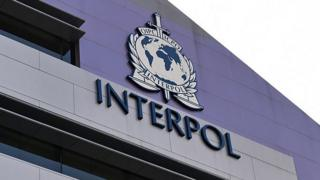 A logo at the newly completed Interpol Global Complex for Innovation building is seen during the inauguration opening ceremony in Singapore on 13 April 2015.