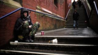 homeless man in North of England
