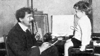 William Heath Robinson pictured with his son