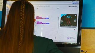 一位學生正在使用Micro:Bit 工具編程(資料圖)