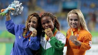 Gold medalist Lauritta Onye of Nigeria Rio 2016 Paralympic Games at the Olympic Stadium on September 11, 2016 in Rio de Janeiro, Brazil.