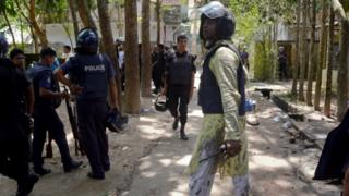 Bangladeshi policemen arrive near the scene of a blast in Kishoreganj, about 90 kilometers (60 miles) north of the capital of Dhaka, Bangladesh, Thursday, July 7, 2016