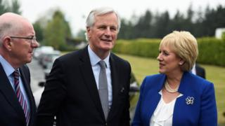 """Image copyright Reuters Image caption The Brexit negotiations will firstly be """"human, social and economic"""", the EU's Michel Barnier said There is """"always an answer"""" to the issue of what form the Irish border will take after Brexit, says the EU's chief negotiator. Michel Barnier was speaking on a two-day visit to the Republic of Ireland ahead of the start of the Brexit talks.He met business owners based near the Irish border who could be negatively affected if trade tariffs were imposed between the UK and EU.On the border issue, he said: """"There is always a road when there is a will."""" All you need to know about Brexit Brexit's hard Irish border questions Also speaking in the Republic of Ireland on Friday, Tony Blair warned that a hard border on the island would be a """"disaster"""". The former UK prime minister told a meeting of MEPs in County Wicklow he believed there was a """"common desire"""" to make Northern Ireland a """"special case"""" in Brexit talks. Image copyright PA Imag.."""