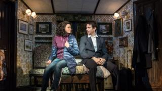 Andy Karl (Phil Connors) and Carlyss Peer (Rita Hanson) in Groundhog Day at The Old Vic