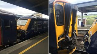 Two pictures of the crash