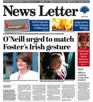 The front page of Thursday's News Letter