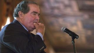 U.S. Supreme Court Justice Antonin Scalia listens to a question after speaking at an event sponsored by the Federalist Society at the New York Athletic Club in New York, on 13 October 2014