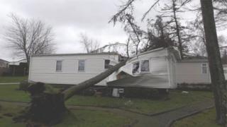 A wrecked caravan at Brynteg caravan park, Caernarfon