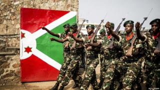 Burundi soldiers march during the celebrations of the country's independence on 1 July. After a media crackdown by authorities, journalists have found new ways of getting news out online