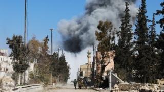 El Bab'daki Suriyeli muhalif güçler.