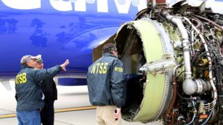 Investigators investigate damage to Southwest Airlines' 1380th CFM International 56-7B turbofan engine, which separated on April 17, 2018 during flight