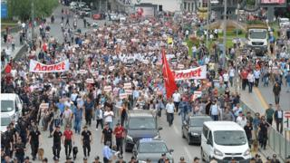 Demonstrators march during a protest against detention of main opposition Republican People's Party (CHP) lawmaker Enis Berberoglu, in Ankara, Turkey, June 15, 2017.