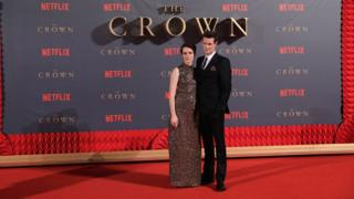 Claire Foy (L) and Matt Smith (R) at the World Premiere of season 2 of Netflix 'The Crown'
