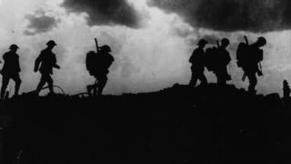 British troops moving up to the trenches