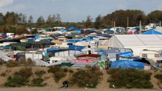 A view of he jungle migrant camp in Calais, France