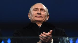 Russian President Vladimir Putin attends the Opening Ceremony of the Sochi 2014 Winter Olympics on 7 February 2014.