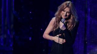 Singer Celine Dion performs during Sinatra 100 - An All-Star Grammy Concert in Las Vegas, Nevada December 2, 2015
