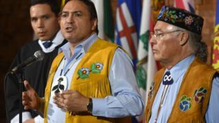 Aboriginal Leaders talk to media after the opening of the First Ministers Meeting in Vancouver on March 2, 2016. (L-R) are Natan Obed, President Inuit Tapiriit Kanatami, Assembly of First Nations, National Chief Perry Bellegarde, and Metis National Council President Clement Chartier.