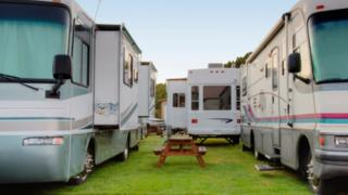 Recreational vehicle in a park