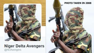 L: Niger Delta Twitter photo R: A photo taken in September 2008 showing a fighter of the Movement for the Emancipation of the Niger Delta (Mend), holding his weapons at the militia's creek camp in the Niger Delta.