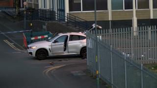 Damaged car at the scene