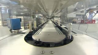 Automated track in the lab at Heartlands Hospital
