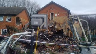 Debris after a building collapsed at Osney Mead