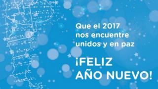 Mensaje de salutación del Ministerio de Desarrollo Social con el mapa de la Argentina y sin las islas Malvinas / Falklands.