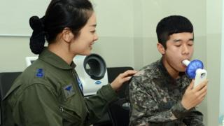 A South Korean soldier at an anti-smoking clinic