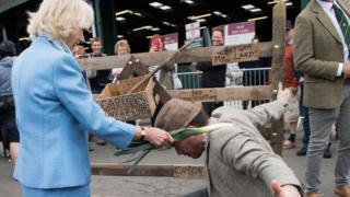 """The Duchess of Cornwall knights the """"farmer"""""""