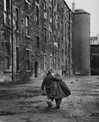 Two young boys in Glasgow street