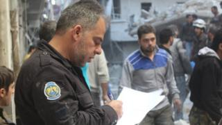 Free Syrian Police officer working alongside the White Helmets civil defence in Syria
