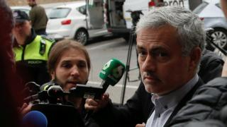Jose Mourinho outside court in Pozuelo de Alarcon, Madrid, 3 November