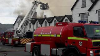 Fire at Severn Arms Hotel, Penybont, Powys