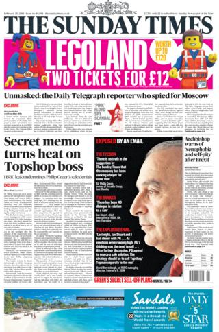 Sunday Times front page 25/02/2018