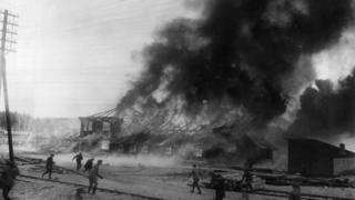 A communist base burns during the Finnish Civil War