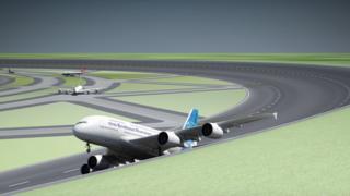 pista de avión circular
