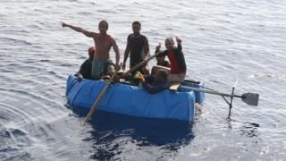 Cuban migrants on a raft near Florida