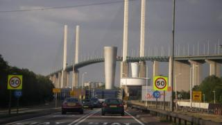 Crossing the Thames from Kent to Essex via the Dartford tunnel