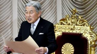 Japanese Emperor Akihito delivers his opening address for the extraordinary Diet session at the National Diet in Tokyo