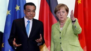 德國總理默克爾和到訪的中國總理李克強