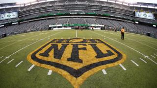 Field painted with NFL logo