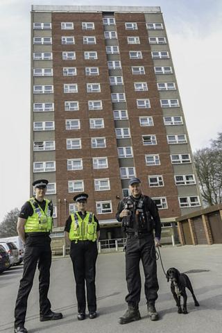 West Yorkshire Police officers on the West Park estate in north-west Leeds