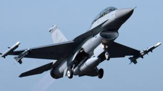 A US-made F-16 jet fighter