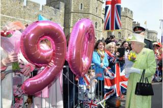 Queen Elizabeth II meets well wishers during a walkabout close to Windsor Castle