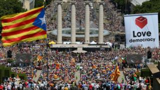 A general view of a pro-independence rally in Barcelona, Spain on 11 June, 2017.